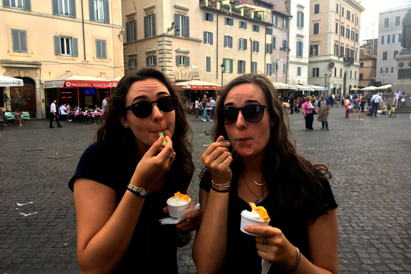 2 Lauren and Emily eating Gelato
